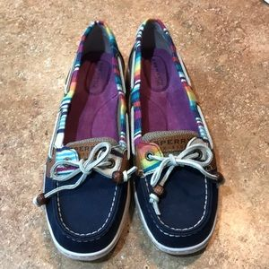 rainbow stripe Sperry top-spider canvas boat shoes